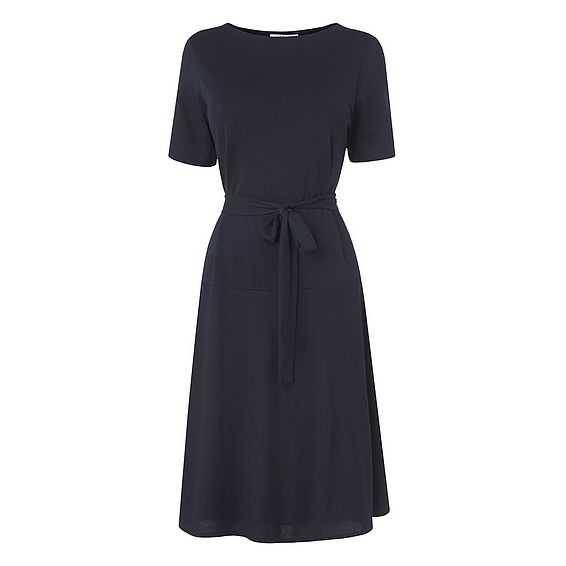 Evelyn Navy Cotton Mix Jersey Dress