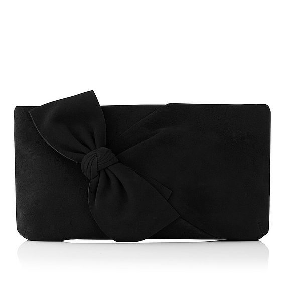Fay Black Suede Clutch