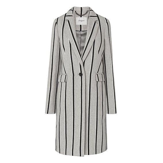 Felecity Grey Stripe Wool Mix Coat
