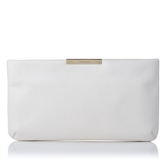 Flora Cream Leather Clutch