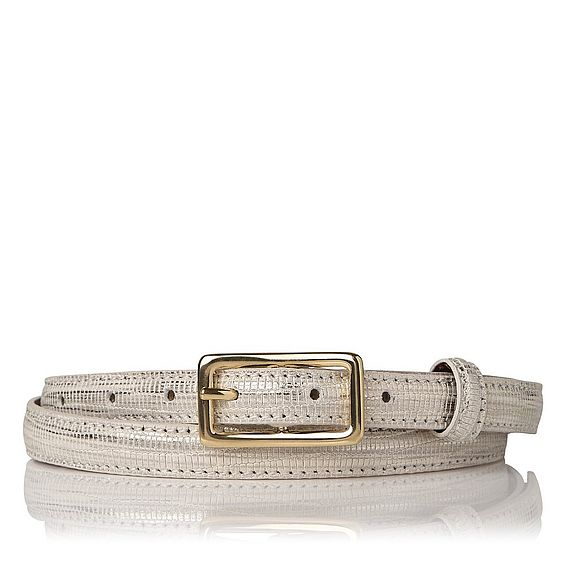Glenda Metallic Cream Lizard Belt