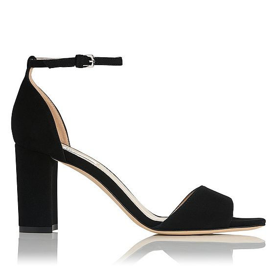 Helena Black Suede Formal Sandals