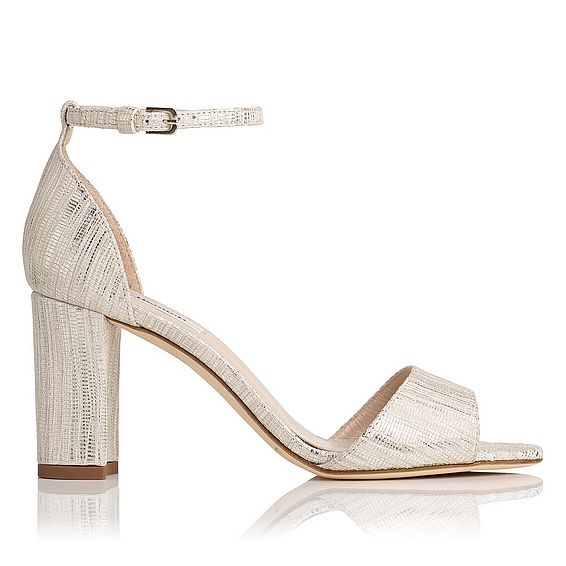 Helena Cream Metallic Lizard Formal Sandals