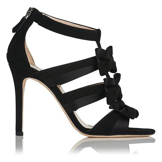Issie Black Suede & Satin Court Shoes