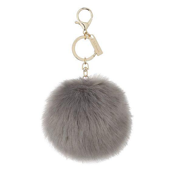 Ivy Grey Faux Fur Pom-Pom Key Chain