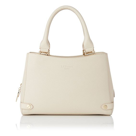 Izzy Cream Grained Leather Tote
