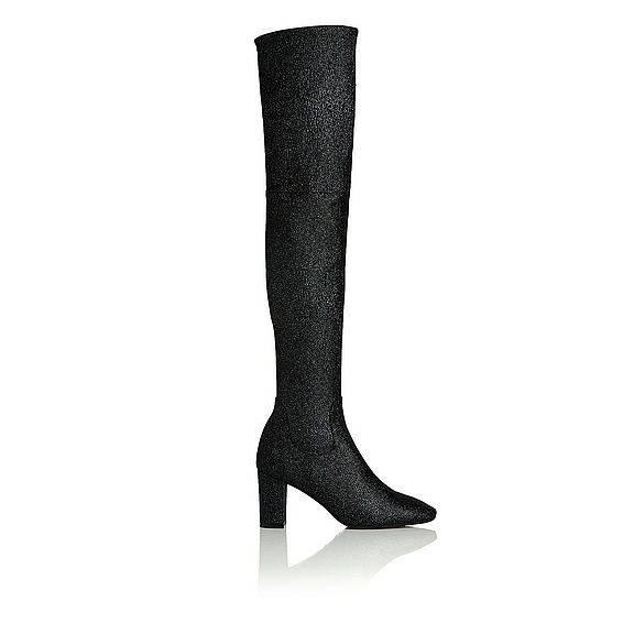 James Black Crystal Suede Knee High Boots