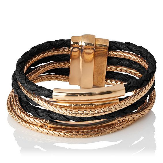 Jasmine Gold Black Metal Saffiano Jewellery