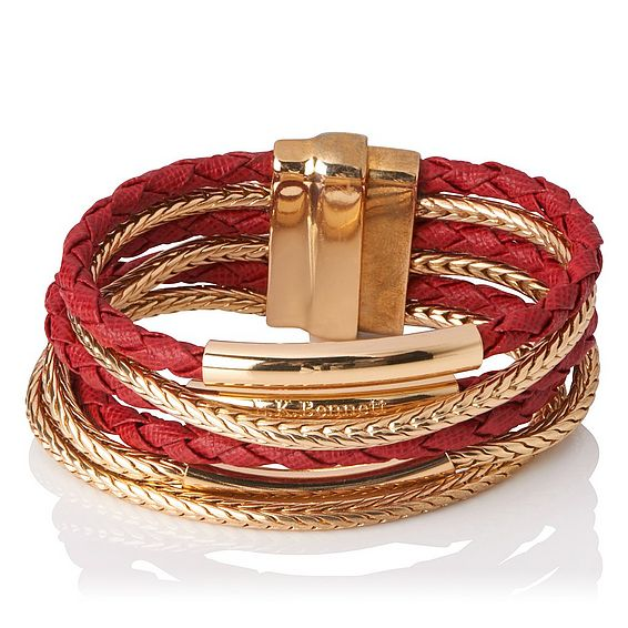 Jasmine Gold Roca Red Metal Saffiano Jewellery
