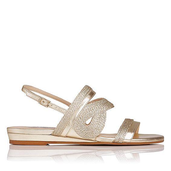 Josephine Gold Leather Flat Sandals