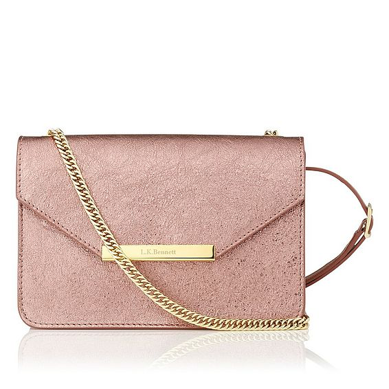 Karla Metallic Pink Leather Shoulder Bag