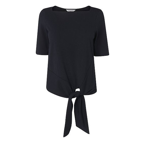 Karlie Navy Cotton Jersey Top