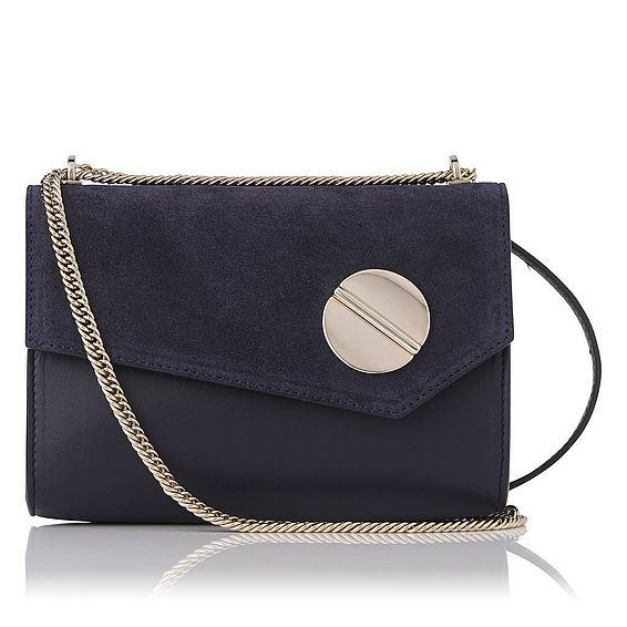 Kay Navy Nappa Suede Shoulder Bag