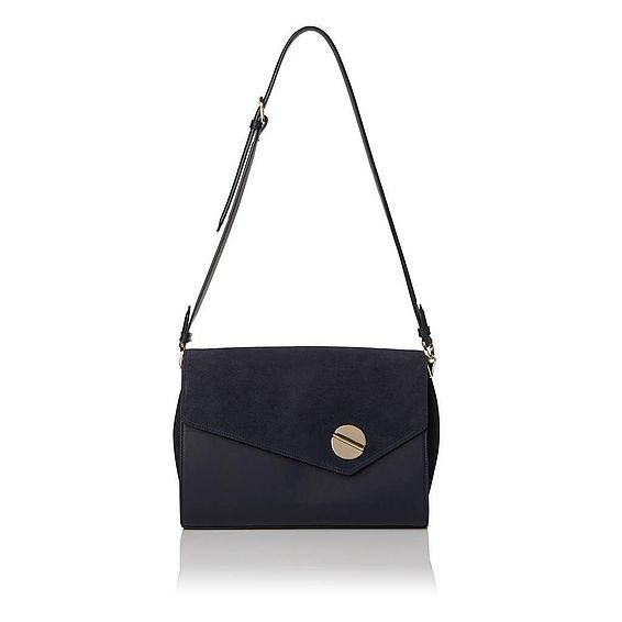 Kendall Navy Nappa Suede Shoulder Bag