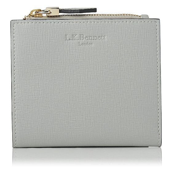 Kira Grey Saffiano Leather Purse