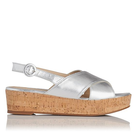 Klara Silver Metallic Leather Sandals