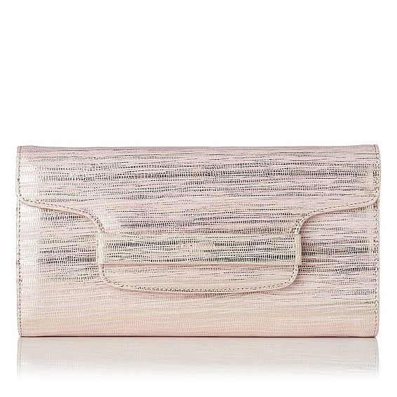 Laura Blush Metallic Lizard Clutch