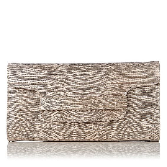 Laura Metallic Lizard Clutch Bag
