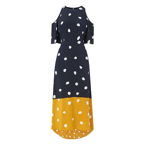 Leia Navy Spot Print Silk Dress