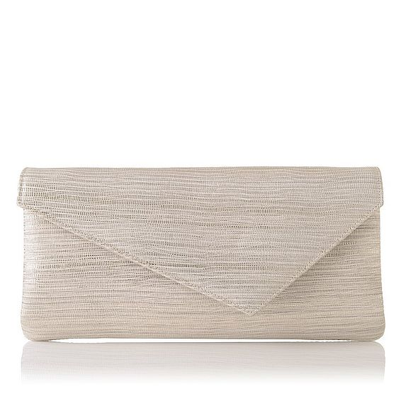 Leonie Cream Metallic Lizard Clutch