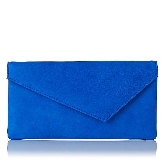 Leonie Blue Suede Clutch