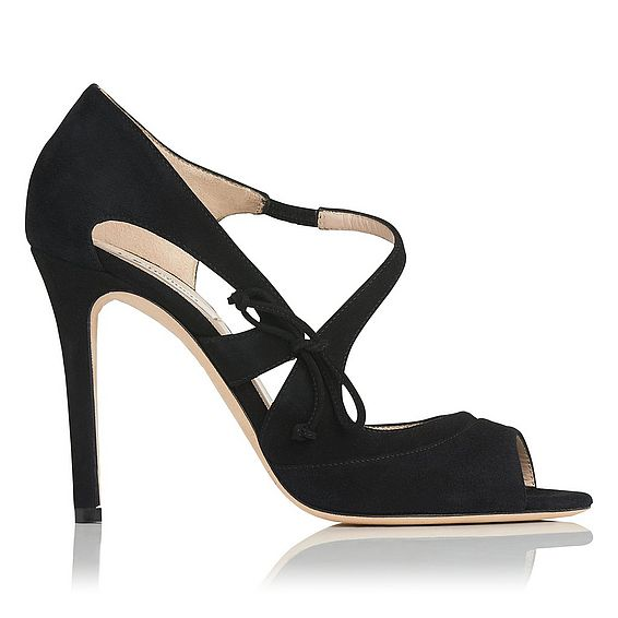 Lucile Black Suede Court Shoes