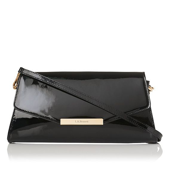 Luna Black Patent Clutch Bag