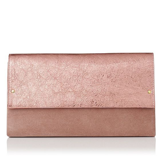 Madeline Metallic Pink Suede Leather Clutch Bag