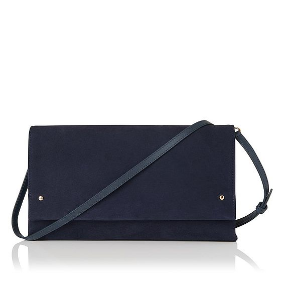 Madeline Navy Suede Clutch
