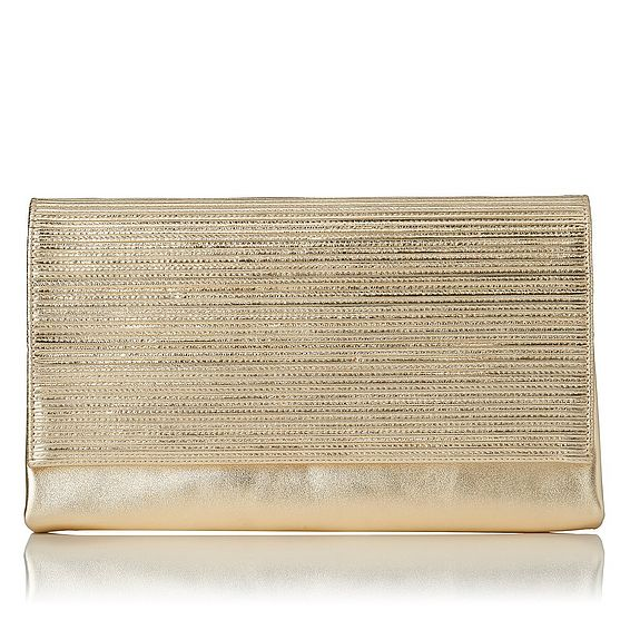 Madeline Gold Textured Metallic Leather Clutch