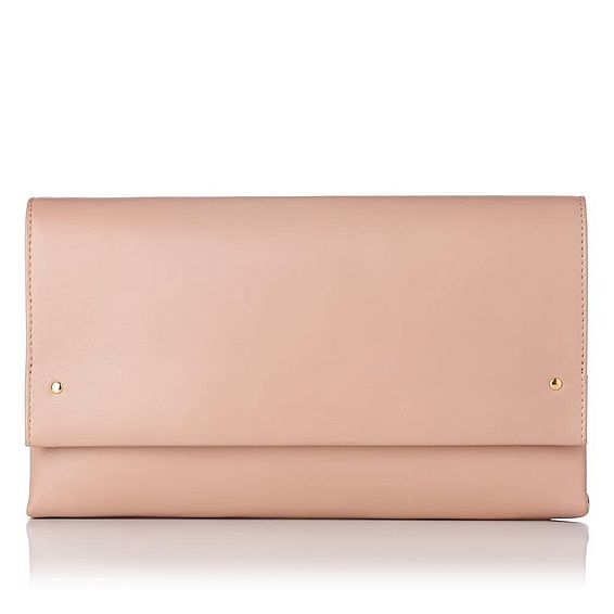Madeline Beige Nappa Leather Clutch