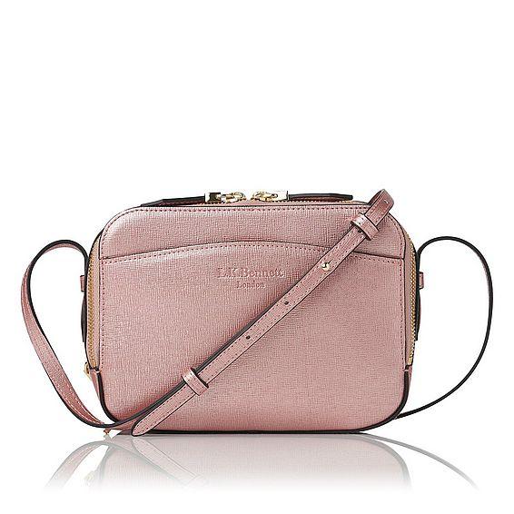 Mariel Metallic Pink Metallic Saffiano Le Shoulder