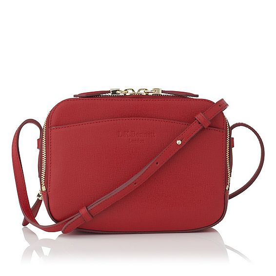 Mariel Red Saffiano Leather Shoulder Bag