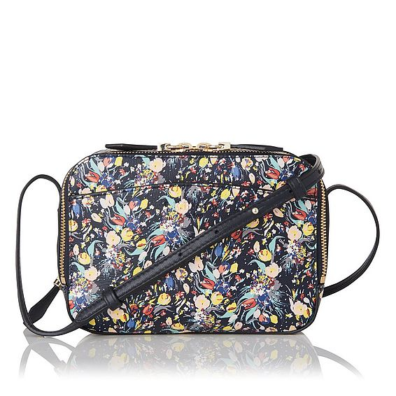 Mariel Navy Printed Leather Shoulder Bag