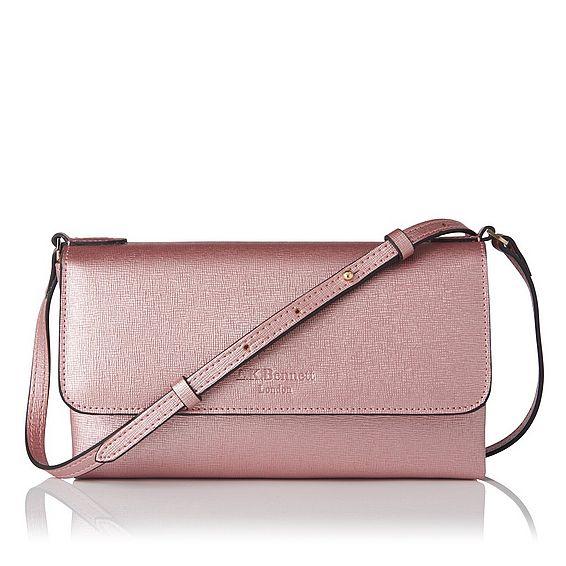 Melany Metallic Pink Leather Shoulder Bag