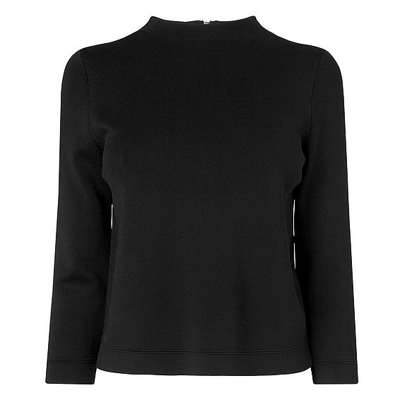 Mele Black Rayon Lycra Knitted Top