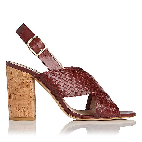 Mel Burgundy Woven Leather Formal Sandals