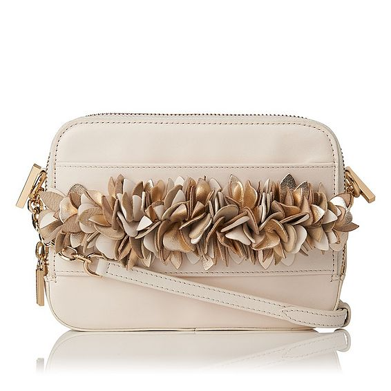 Mia Cream Nappa Leather Shoulder Bag