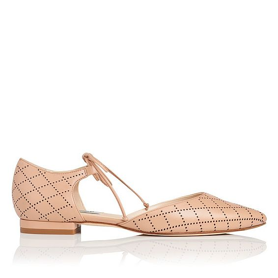 Mikaila Beige Leather Flats