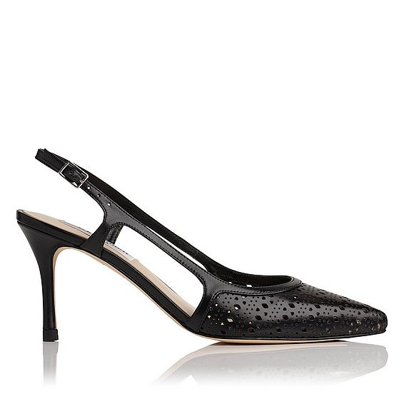 Mitzi Black Leather Open Courts