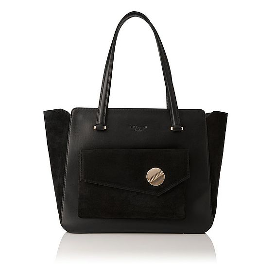 Natasha Black Suede Tote Bag