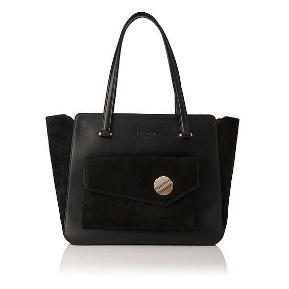 Natasha Black Suede Tote Bag