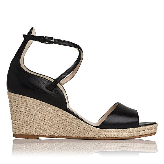 Nellie Black Leather Espadrille Wedge Sandals