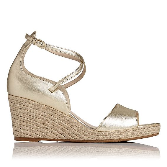 Nellie Gold Leather Espadrille Wedge Sandals