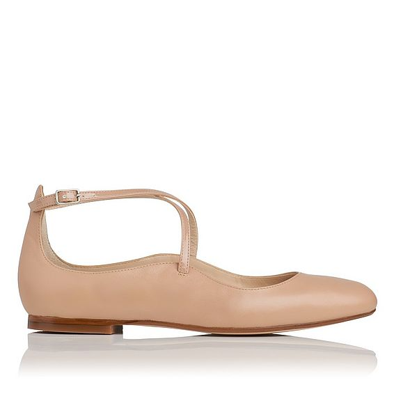 Nessie Neutral Soft Nappa Leather Flats
