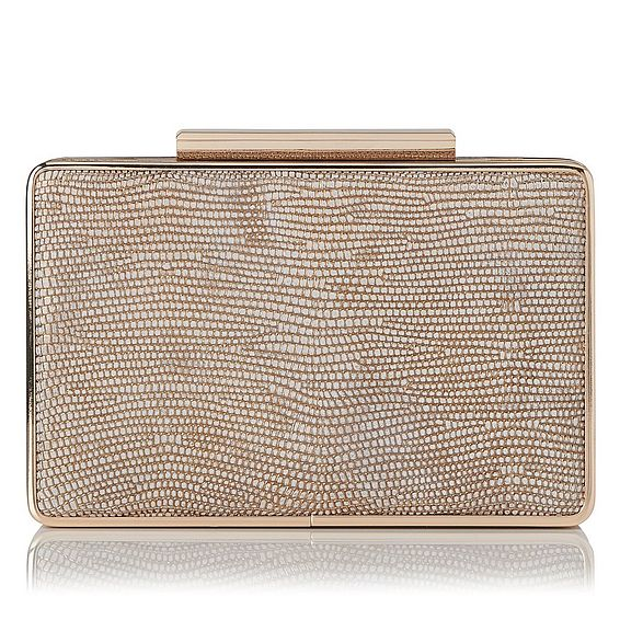Nina Plat Blush Metallic Lizard Clutch
