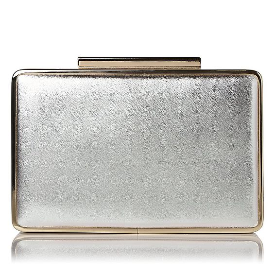 Nina Silver Metallic Leather Clutch