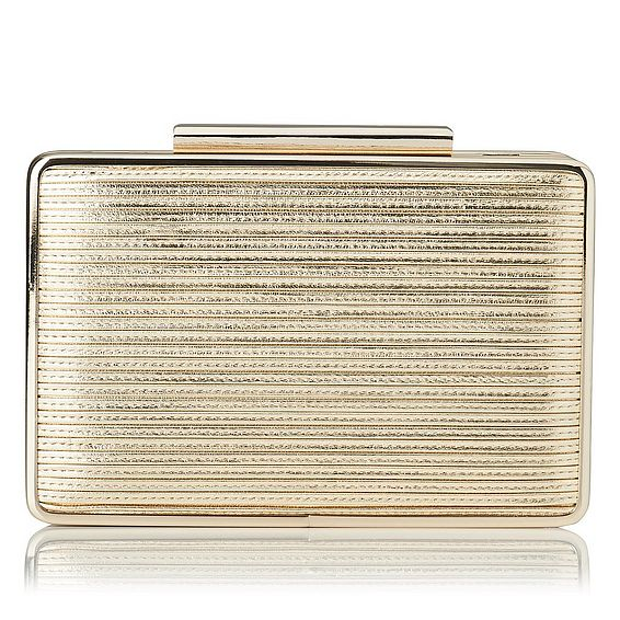 Nina Gold Metallic Leather Clutch