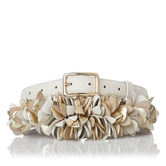 Peony Cream Nappa Leather Belts