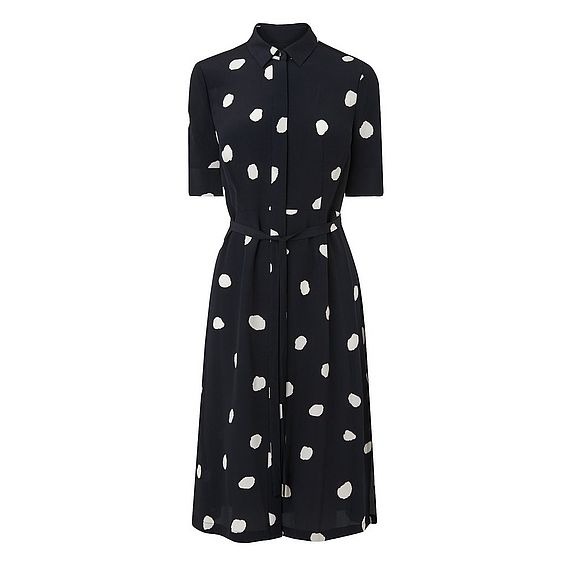 Pernila Navy Silk Spot Print Dress
